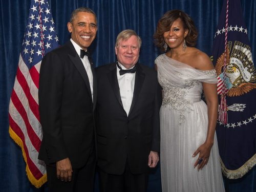 George E. Condon, Jr., recipient of the WHCA's President's Award with President Barack Obama and Mrs. Obama at the 2014 WHCA awards dinner.